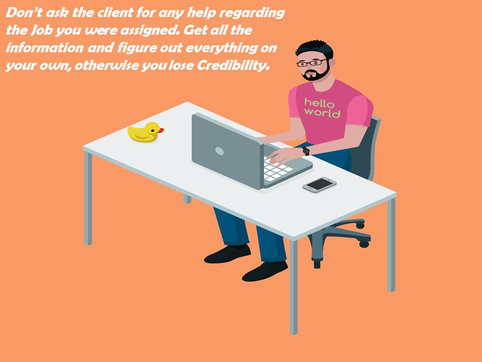 A Web Developer working on his own showing that he work hard on his own and don't seek help from the client.