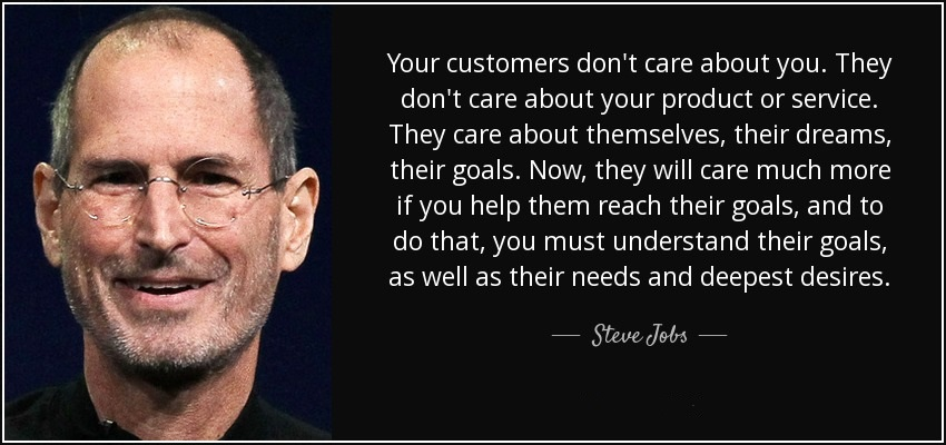 Steve Jobs' Quote explaining how your Clients/Clients expect from you to help them achieving their goals.