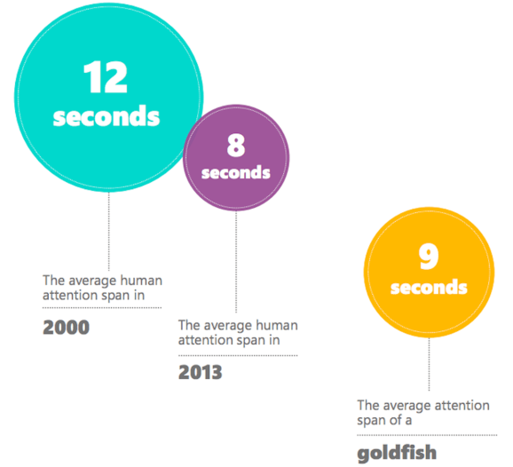 Statistics showing the Attention span of Human beings today. You would be shocked that we humans have attention span of 8 seconds while a goldfish has of 9 seconds. So a goldfish has more attention span than us humans.