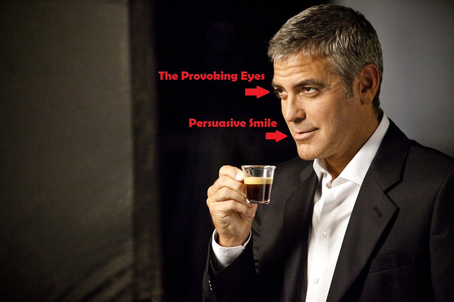 George clooney's face on a Website for promoting a Cofee brand.