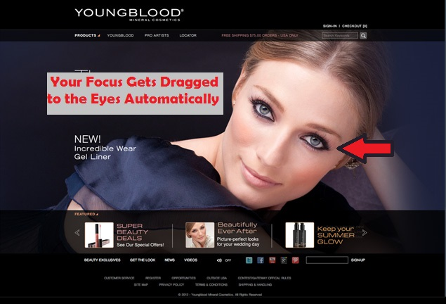 A Model on the business website of a Cosmetics company with beautiful eyes can make the user engaged.
