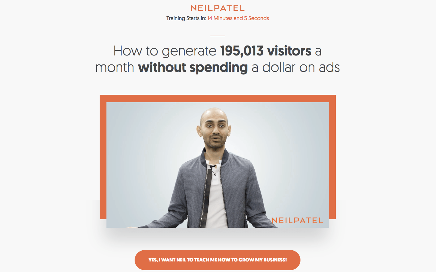 Neil PAtel's Website Screenshot showing how he uses Video on his Website