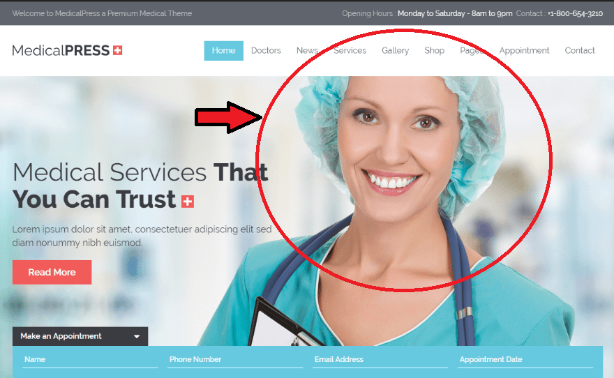 A Picture of a Dentist with a Smile on her Face. These expressions will make the user trust more on your business website