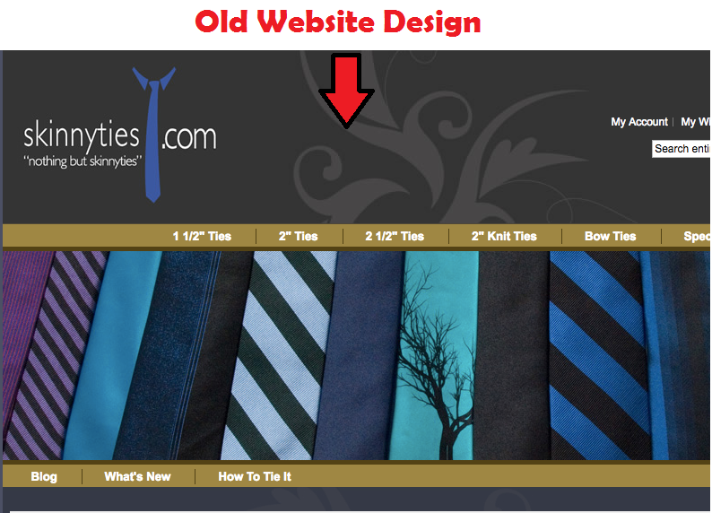 A Web page showing the old design of Skinnyties.com. Their webpage was kind of old fashioned for their business website