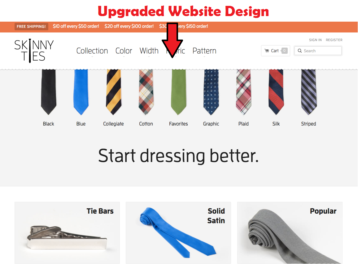 The new website design of SKinnyties.com after they developed it. The picture shows how graceful this design looks compared to old one.