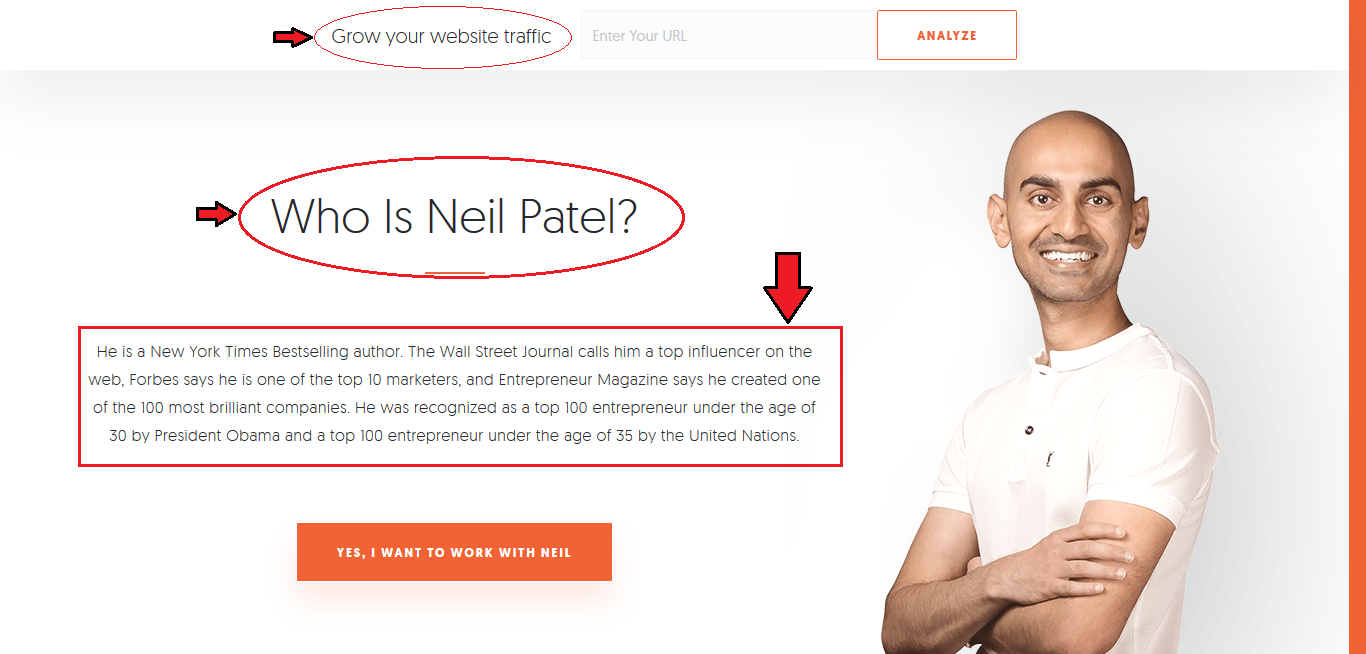 Neil patel website showing how his website has set a certain typeface for his content.