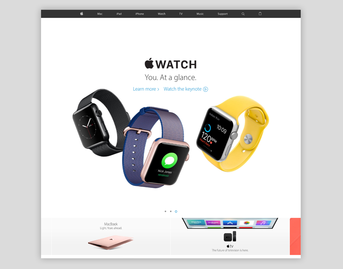 The WebPage of Apple.com shwoing how they use White spaces while presenting their Apple watches.