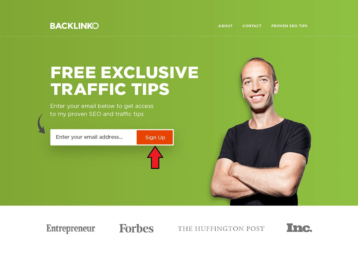 The Home page of Brian Dean's Backlinko.com showing how a certain color can be associated to a brand.