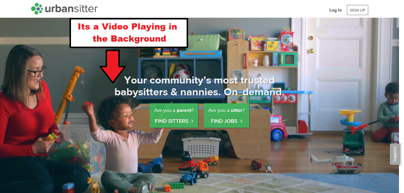 UrbanSitters website in 2018 with a Homepage having a Video playing in the Background.