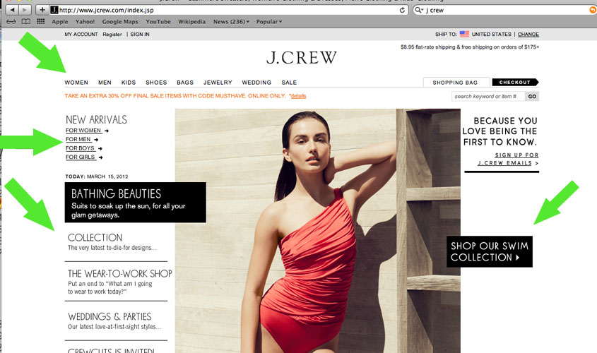 Jcrew old website design showing bad format and navigation. Their Website had too mcu information and pages listed everywhere.