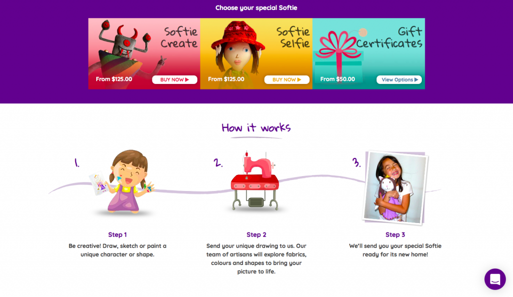 A website design that shows how typography can be used in a website that targets children