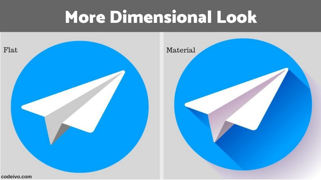 In web designing Material design gives a more dimensional look